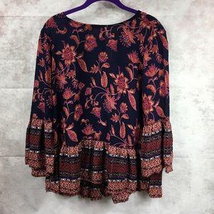 BeachLunchLounge floral boho navy blouse